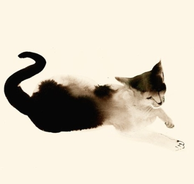 water color cat 1 - flipped horizontally